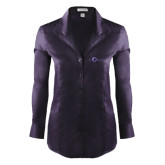 Ladies Red House Deep Purple Herringbone Long Sleeve Shirt-The Navigators Tone