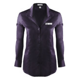 Ladies Red House Deep Purple Herringbone Long Sleeve Shirt-NAVS