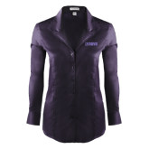 Ladies Red House Deep Purple Herringbone Long Sleeve Shirt-NAVS Tone
