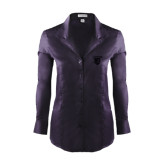 Ladies Red House Deep Purple Herringbone Long Sleeve Shirt-Glen Eyrie Tone