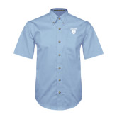 Light Blue Twill Button Down Short Sleeve-Glen Eyrie