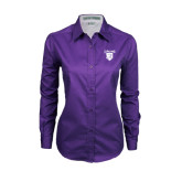 Ladies Purple Twill Button Down Long Sleeve-Glen Eyrie