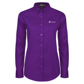 Ladies Purple Twill Button Down Long Sleeve-Navigators