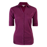 Ladies Berry 3/4 Sleeve Silk Touch Button Down-The Navigators Tone