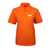 Ladies Easycare Orange Pique Polo-NAVS