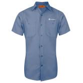Red Kap Postman Blue Short Sleeve Industrial Work Shirt-Navigators
