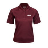 Ladies Maroon Textured Saddle Shoulder Polo-NAVS