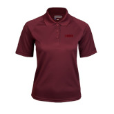 Ladies Maroon Textured Saddle Shoulder Polo-NAVS Tone