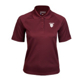 Ladies Maroon Textured Saddle Shoulder Polo-Glen Eyrie