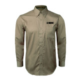 Khaki Twill Button Down Long Sleeve-NAVS