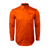 Orange Twill Button Down Long Sleeve-NAVS Tone