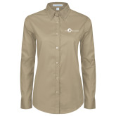 Ladies Khaki Twill Button Down Long Sleeve-The Navigators