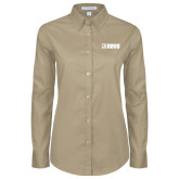 Ladies Khaki Twill Button Down Long Sleeve-NAVS