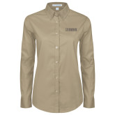 Ladies Khaki Twill Button Down Long Sleeve-NAVS Tone