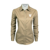 Ladies Khaki Twill Button Down Long Sleeve-Glen Eyrie