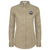 Ladies Khaki Twill Button Down Long Sleeve-NAVS Military