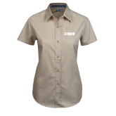 Ladies Khaki Twill Button Up Short Sleeve-NAVS