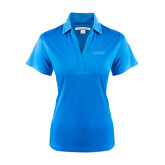 Ladies Light Blue Performance Fine Jacquard Polo-NAVS Tone