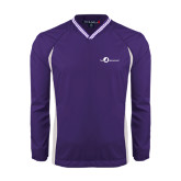 Colorblock V Neck Purple/White Raglan Windshirt-The Navigators