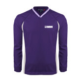 Colorblock V Neck Purple/White Raglan Windshirt-NAVS