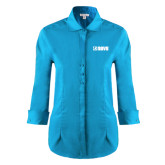 Ladies Red House Teal 3/4 Sleeve Shirt-NAVS