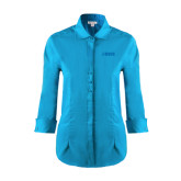 Ladies Red House Teal 3/4 Sleeve Shirt-NAVS Tone