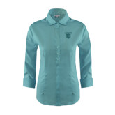 Ladies Red House Teal 3/4 Sleeve Shirt-Glen Eyrie Tone
