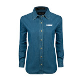 Ladies Denim Long Sleeve Shirt-NAVS
