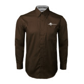 Brown Twill Button Down Long Sleeve-The Navigators