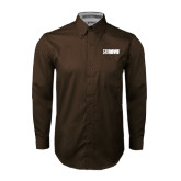 Brown Twill Button Down Long Sleeve-NAVS