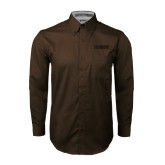 Brown Twill Button Down Long Sleeve-NAVS Tone