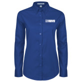 Ladies Royal Twill Button Down Long Sleeve-NAVS