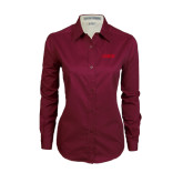Ladies Maroon Twill Button Down Long Sleeve-NAVS Tone
