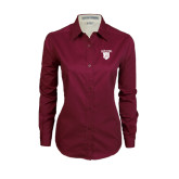 Ladies Maroon Twill Button Down Long Sleeve-Glen Eyrie