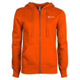 ENZA Ladies Orange Fleece Full Zip Hoodie-Navigators