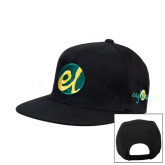 Black Flat Bill Snapback Hat-El Mark