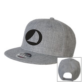 Heather Grey Wool Blend Flat Bill Snapback Hat-Navigators Sail