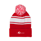 Red/White Two Tone Knit Pom Beanie with Cuff-The Navigators