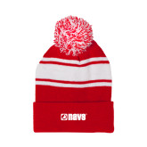 Red/White Two Tone Knit Pom Beanie with Cuff-NAVS