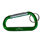 Green Carabiner with Split Ring-Eagle Lake Camps Engraved