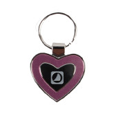 Silver/Pink Heart Key Holder-NAVS Stacked Engraved