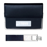 Business Card Case and Key Ring Set Black-NAVS Engraved