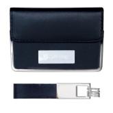 Business Card Case and Key Ring Set Black-Glen Eyrie - Flat Engraved