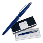 Cross ATX Blue Lacquer Rollerball Pen-The Navigators Flat Version Engraved