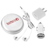 3 in 1 White Audio Travel Kit-NAVPRESS