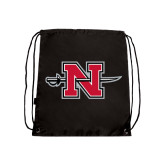 Nylon Black Drawstring Backpack-Official Logo