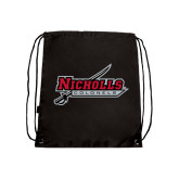 Nylon Black Drawstring Backpack-Nicholls Colonels-Sword