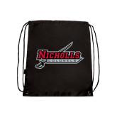 Nylon Black Drawstring Backpack-Nicholls Colonels-Sword