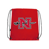 Nylon Red Drawstring Backpack-Official Logo