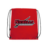 Nylon Red Drawstring Backpack-Nicholls Colonels-Sword